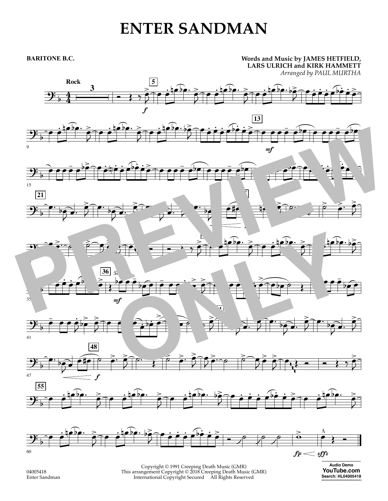 Enter Sandman - Baritone B.C. (Concert Band)