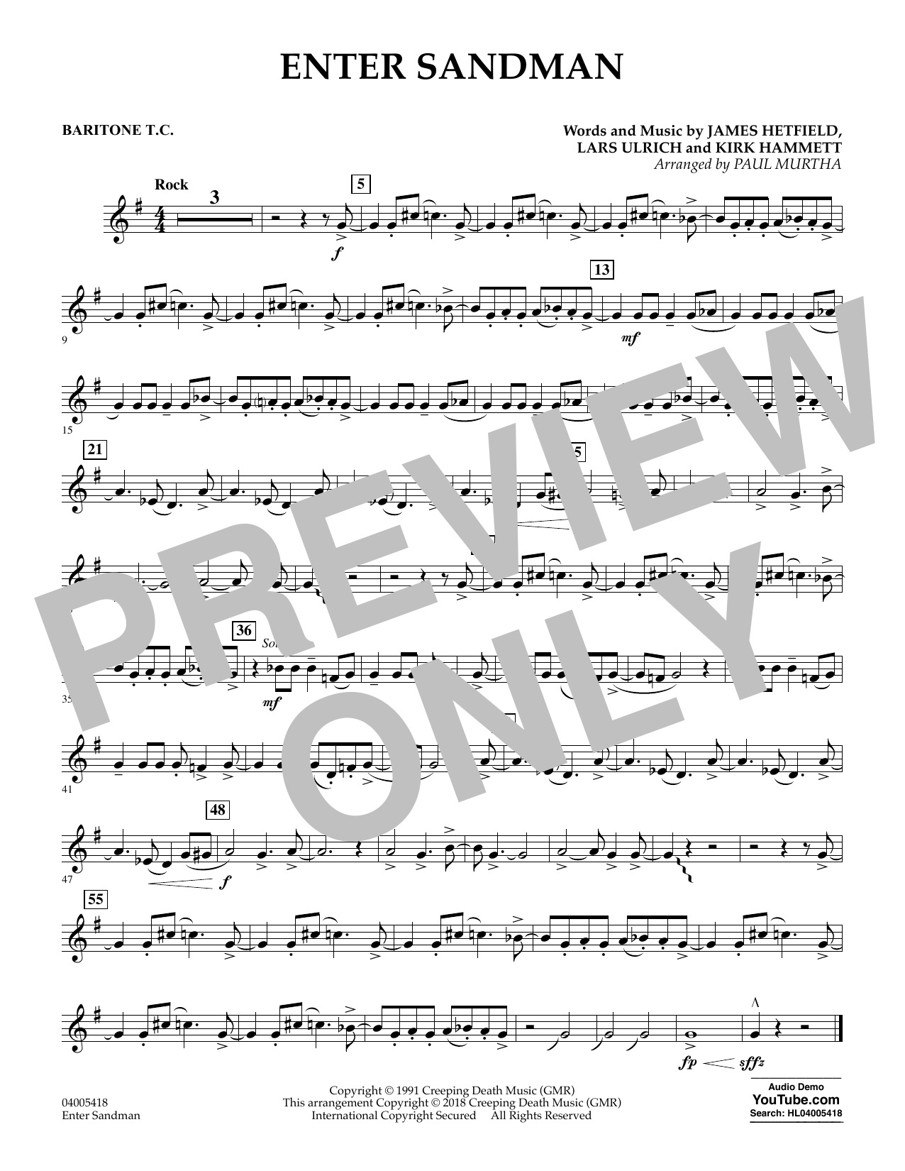 Enter Sandman - Baritone T.C. (Concert Band)