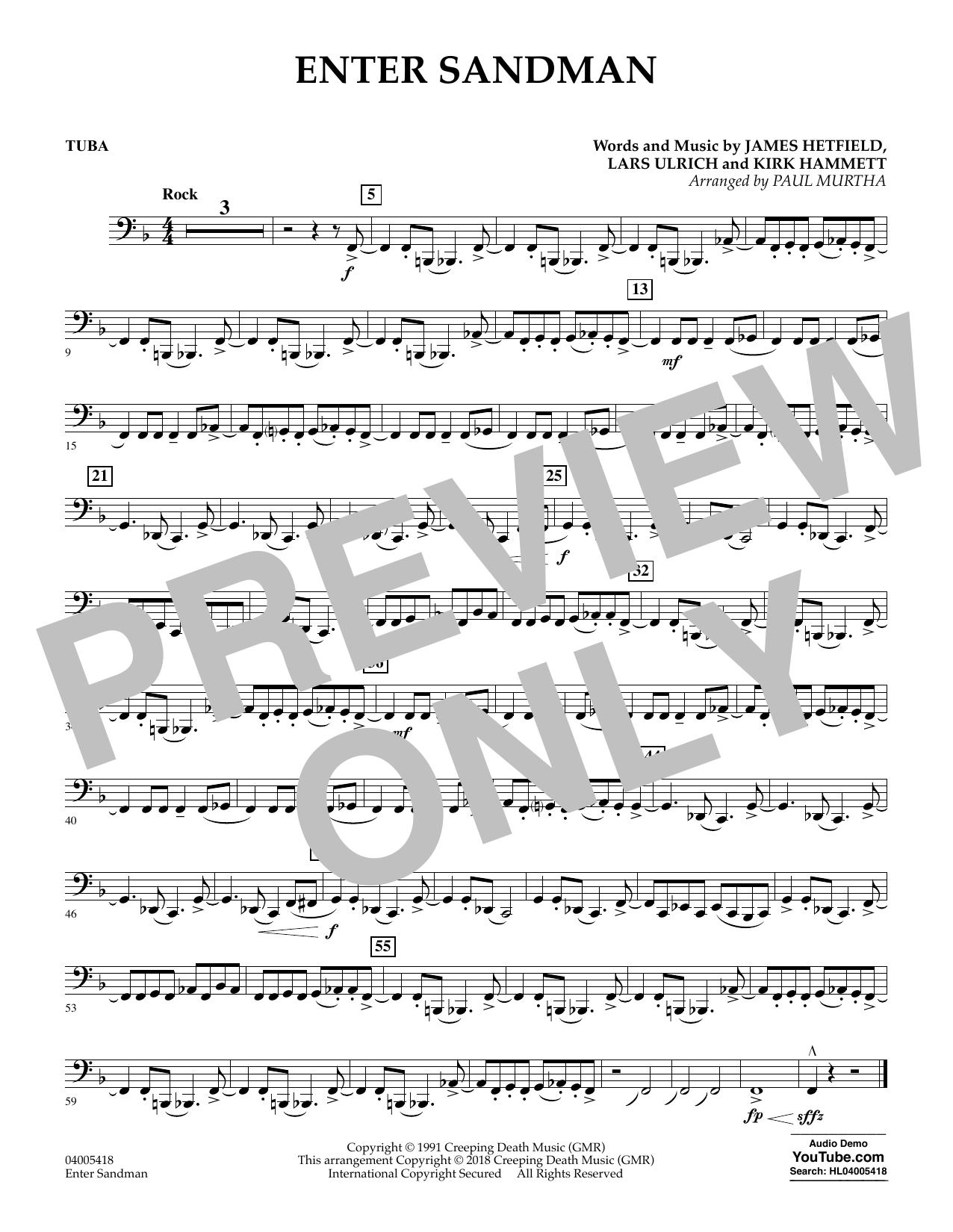 Enter Sandman - Tuba (Concert Band)