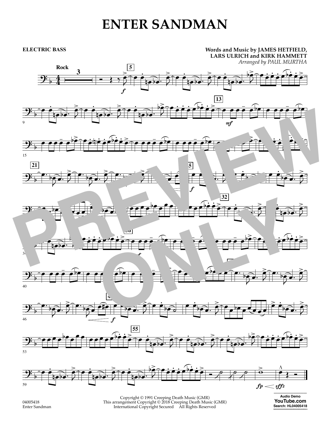 Enter Sandman - Bass (Concert Band)