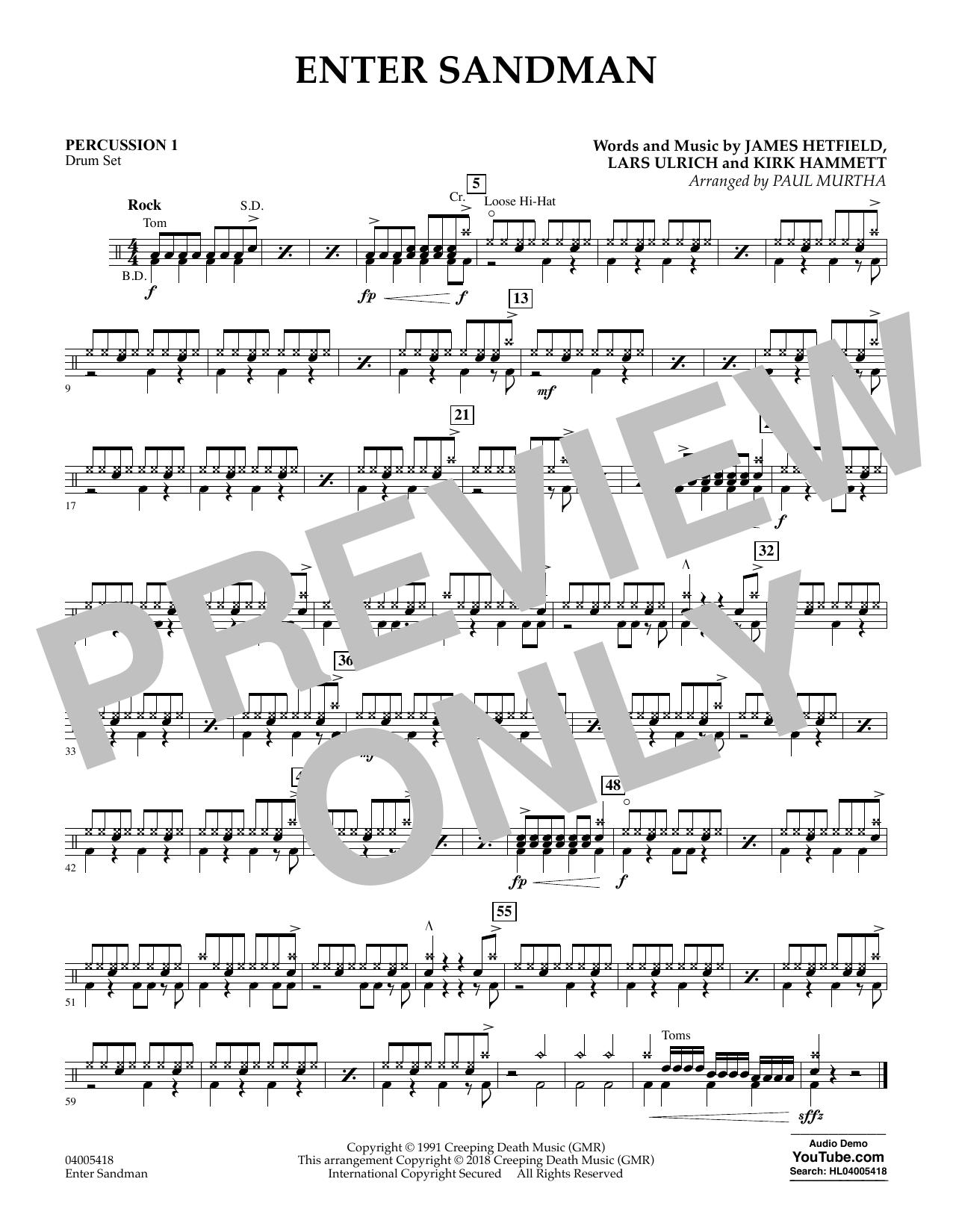 Enter Sandman - Percussion 1 (Concert Band)