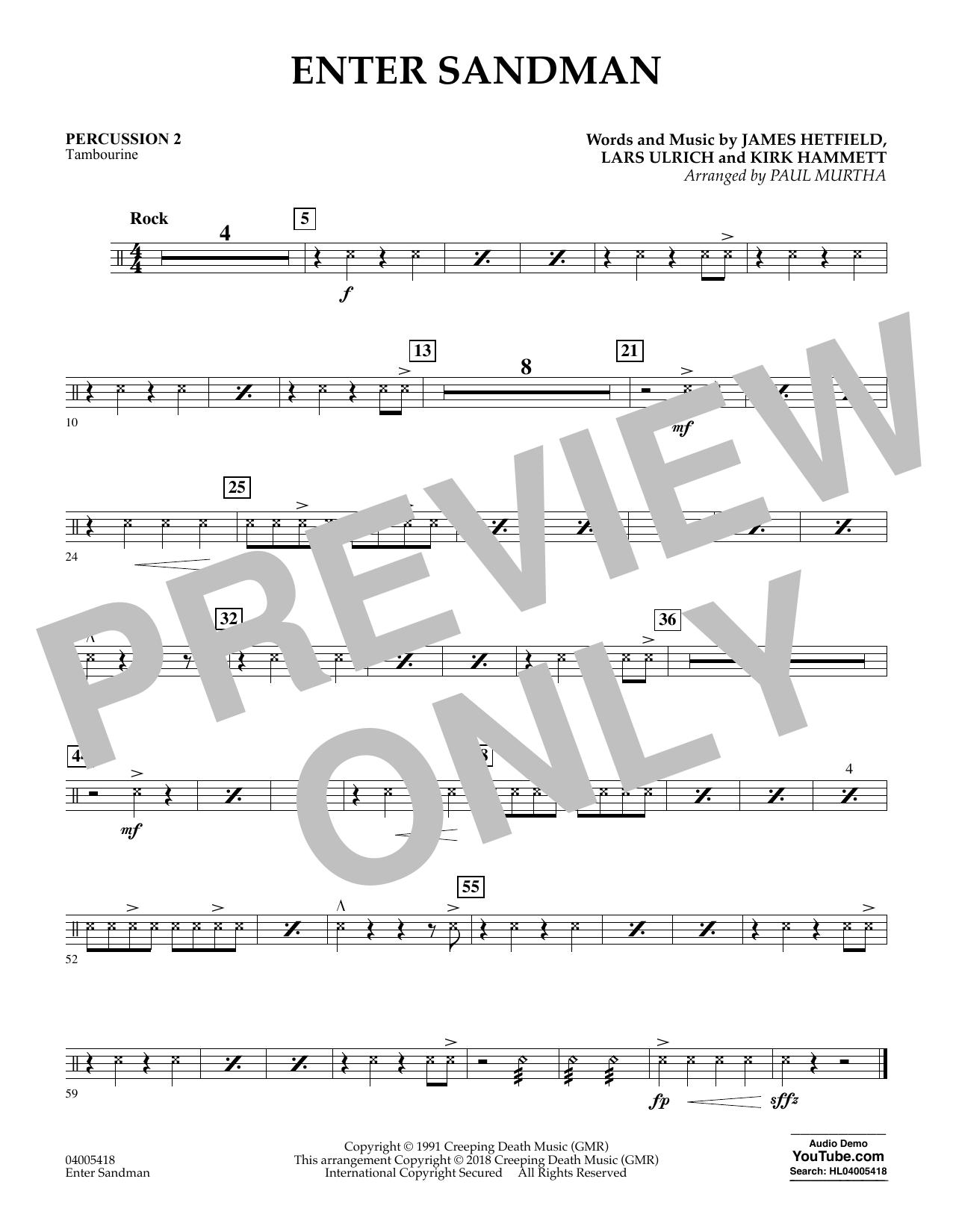 Enter Sandman - Percussion 2 (Concert Band)