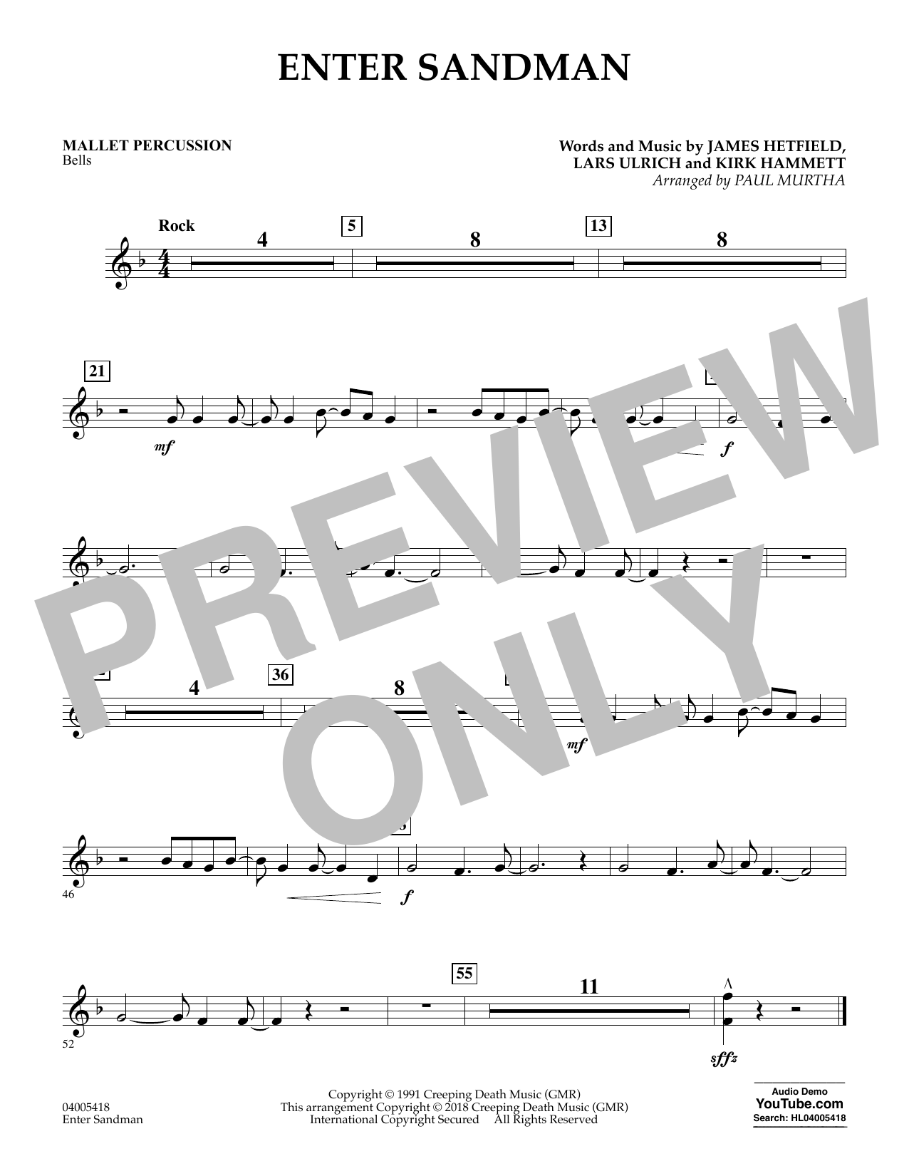 Enter Sandman - Mallet Percussion (Concert Band)