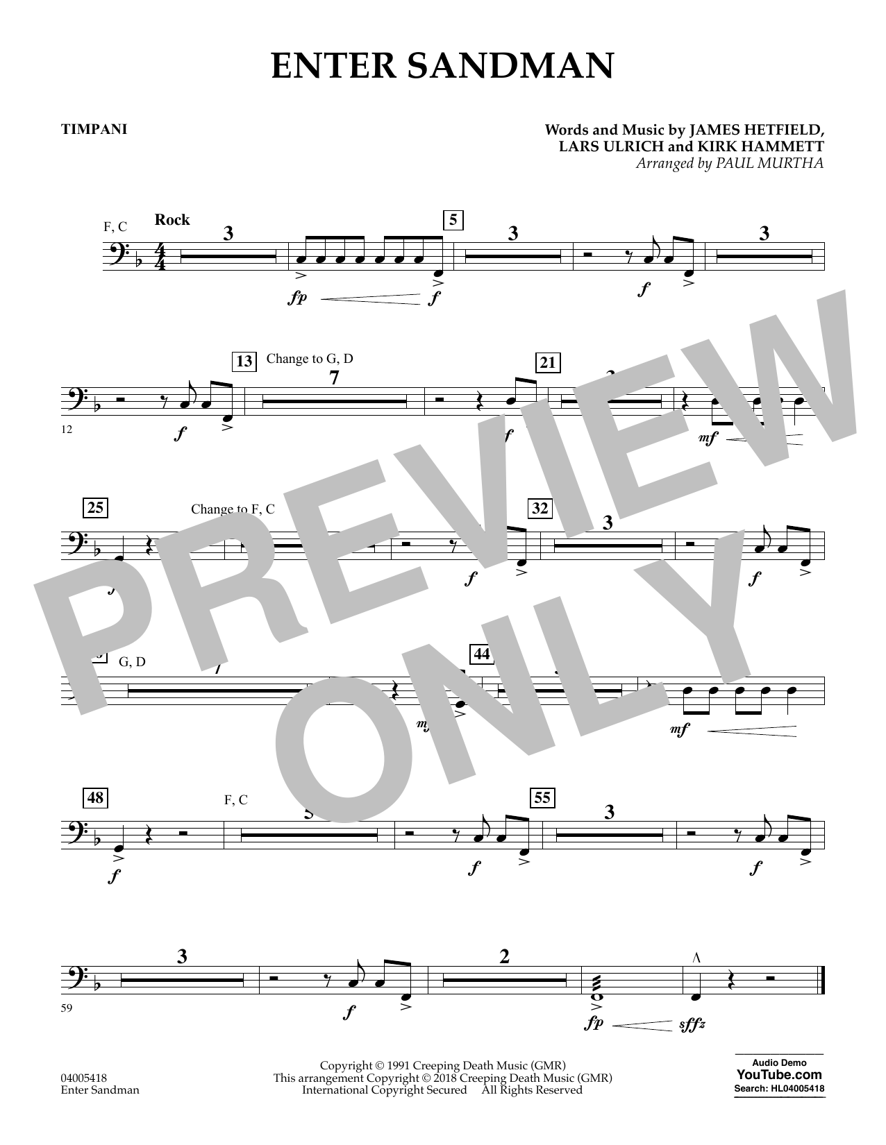 Enter Sandman - Timpani (Concert Band)