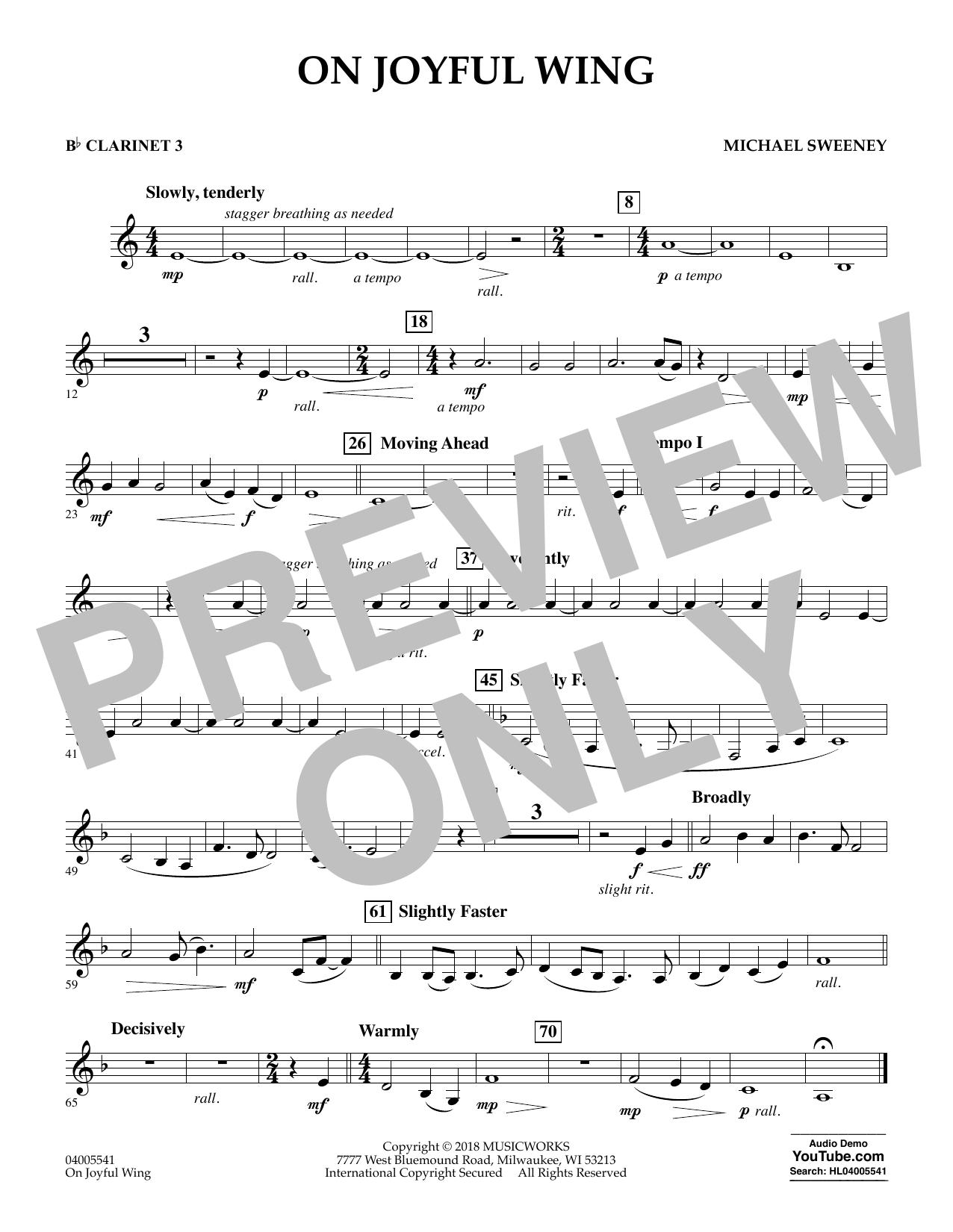 On Joyful Wing - Bb Clarinet 3 (Concert Band)