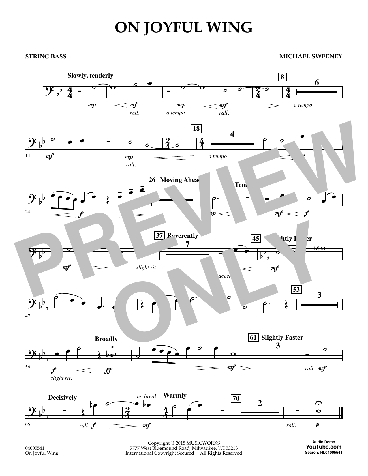 On Joyful Wing - Bass (Concert Band)