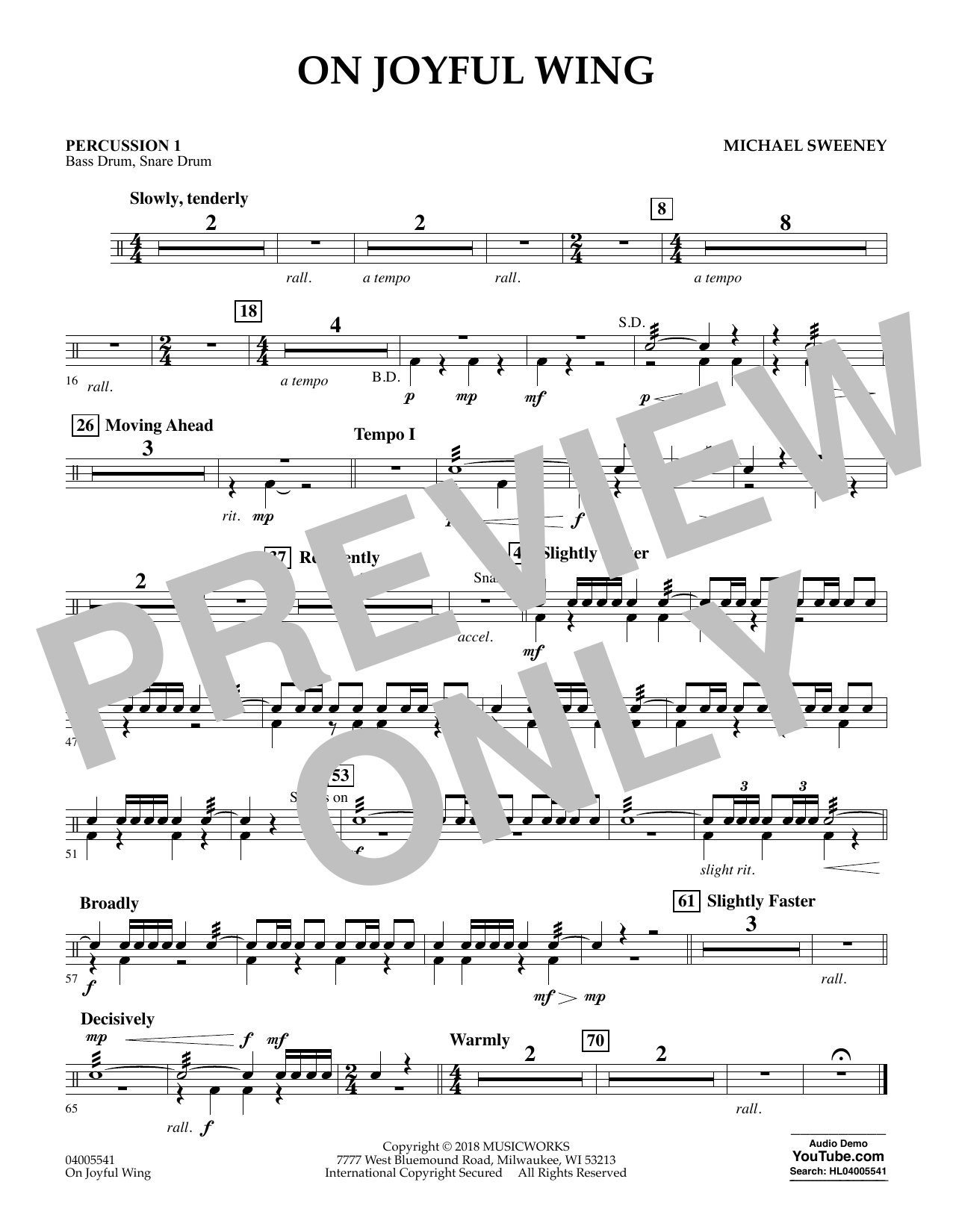 On Joyful Wing - Percussion 1 (Concert Band)