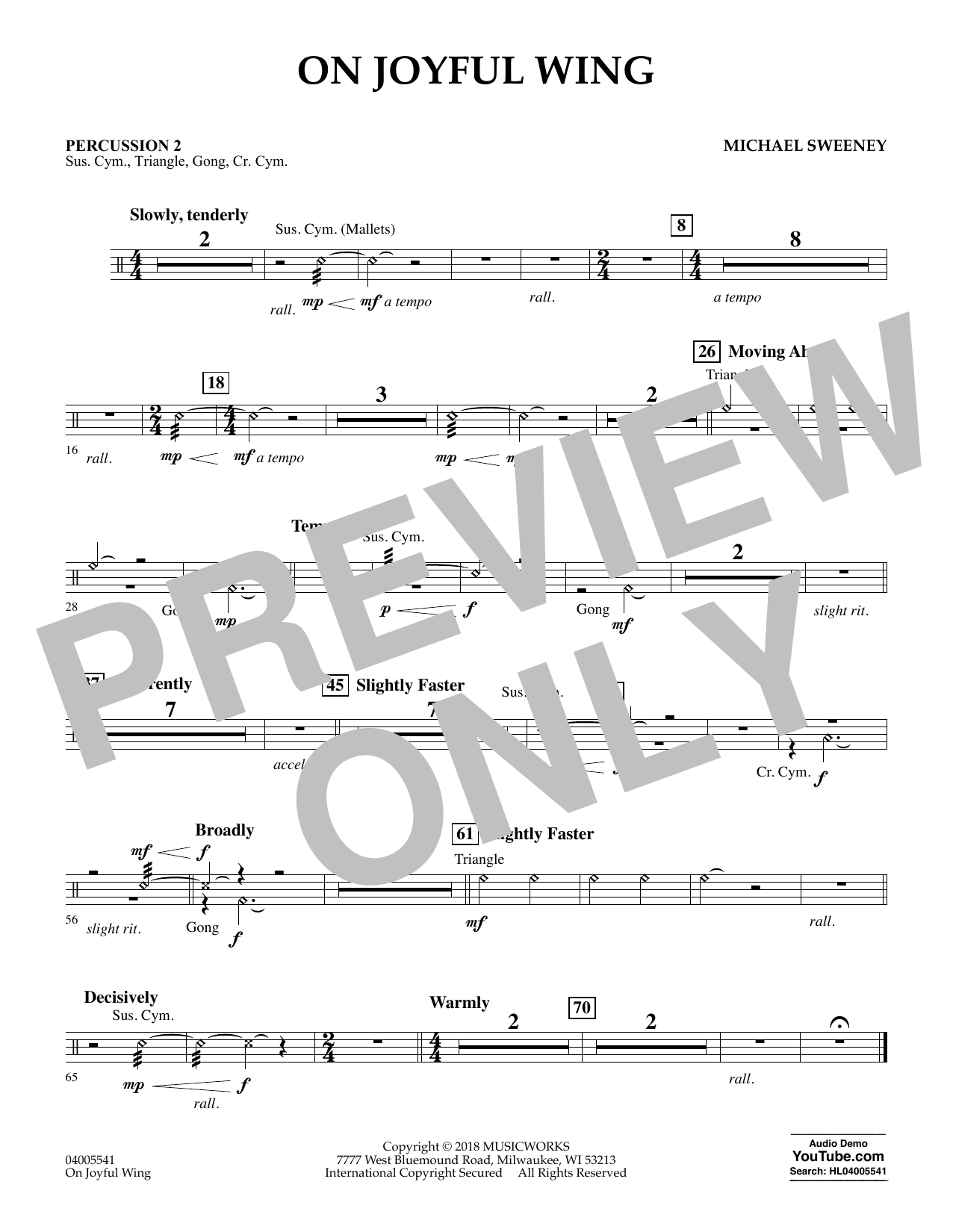 On Joyful Wing - Percussion 2 (Concert Band)