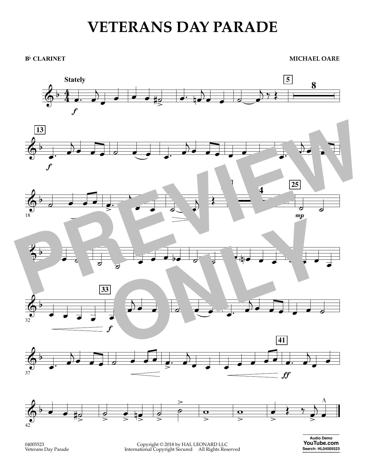 Veterans Day Parade - Bb Clarinet (Concert Band)