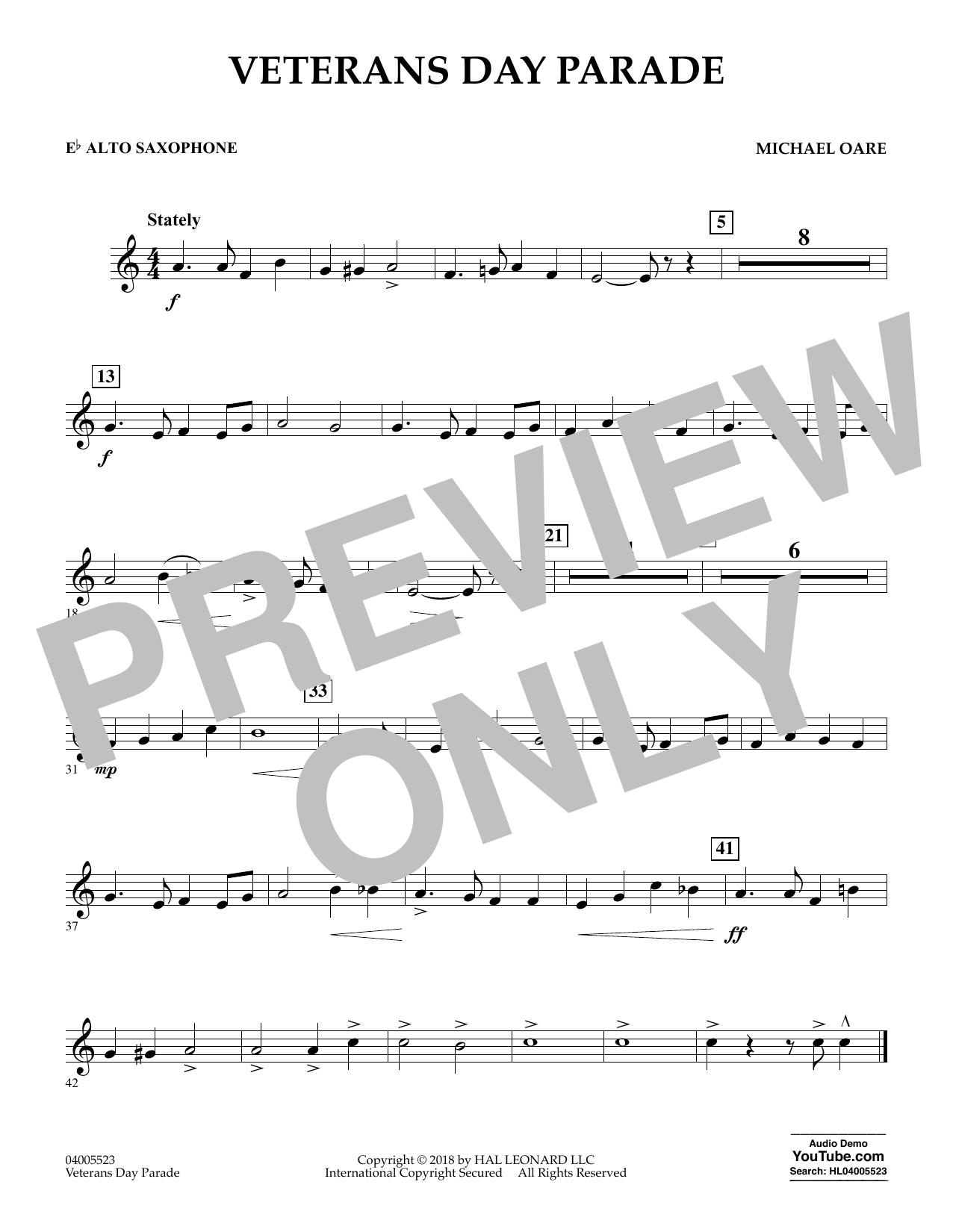 Veterans Day Parade - Eb Alto Saxophone (Concert Band)