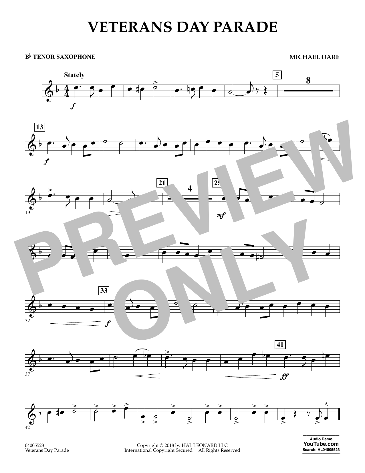 Veterans Day Parade - Bb Tenor Saxophone (Concert Band)