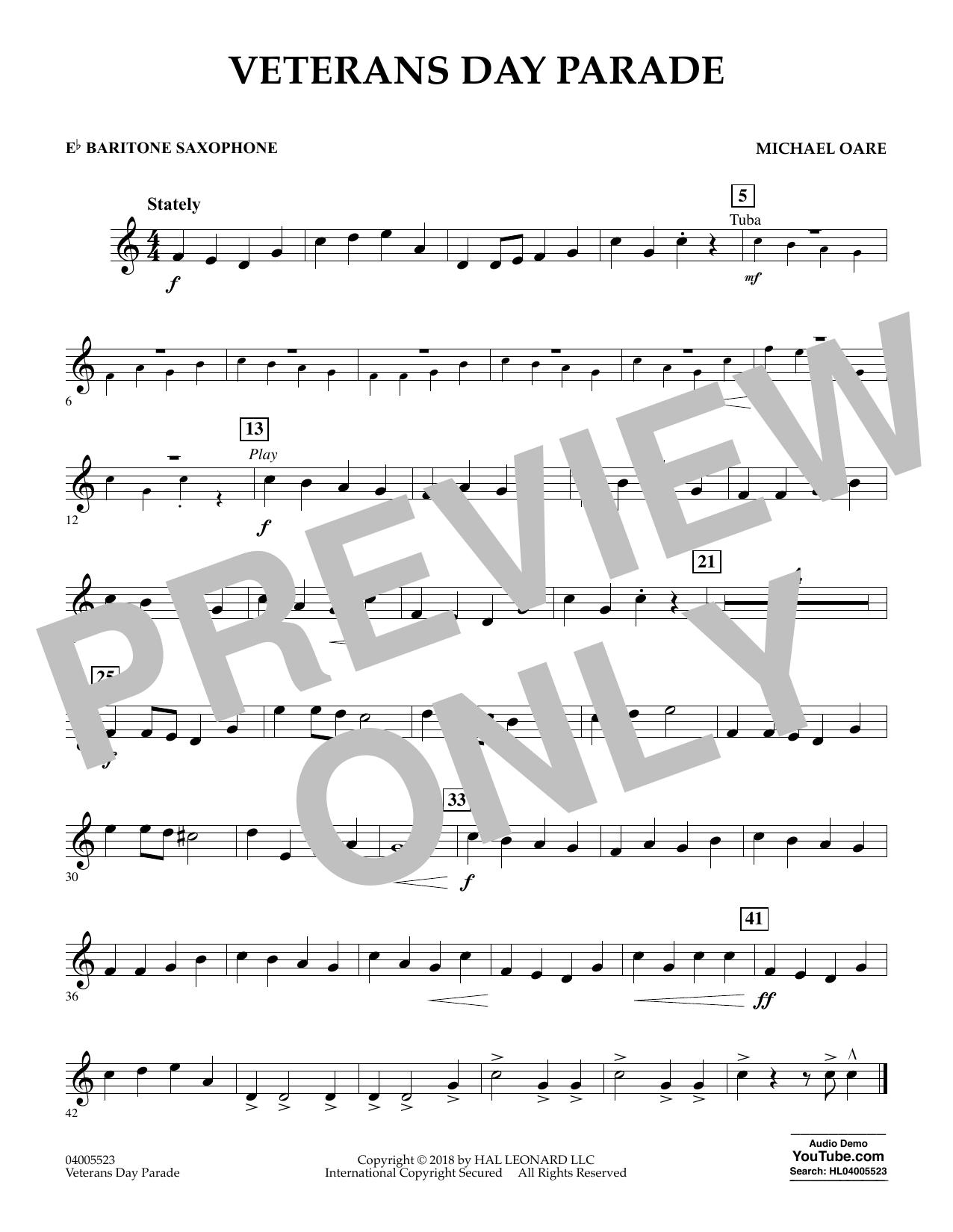 Veterans Day Parade - Eb Baritone Saxophone (Concert Band)