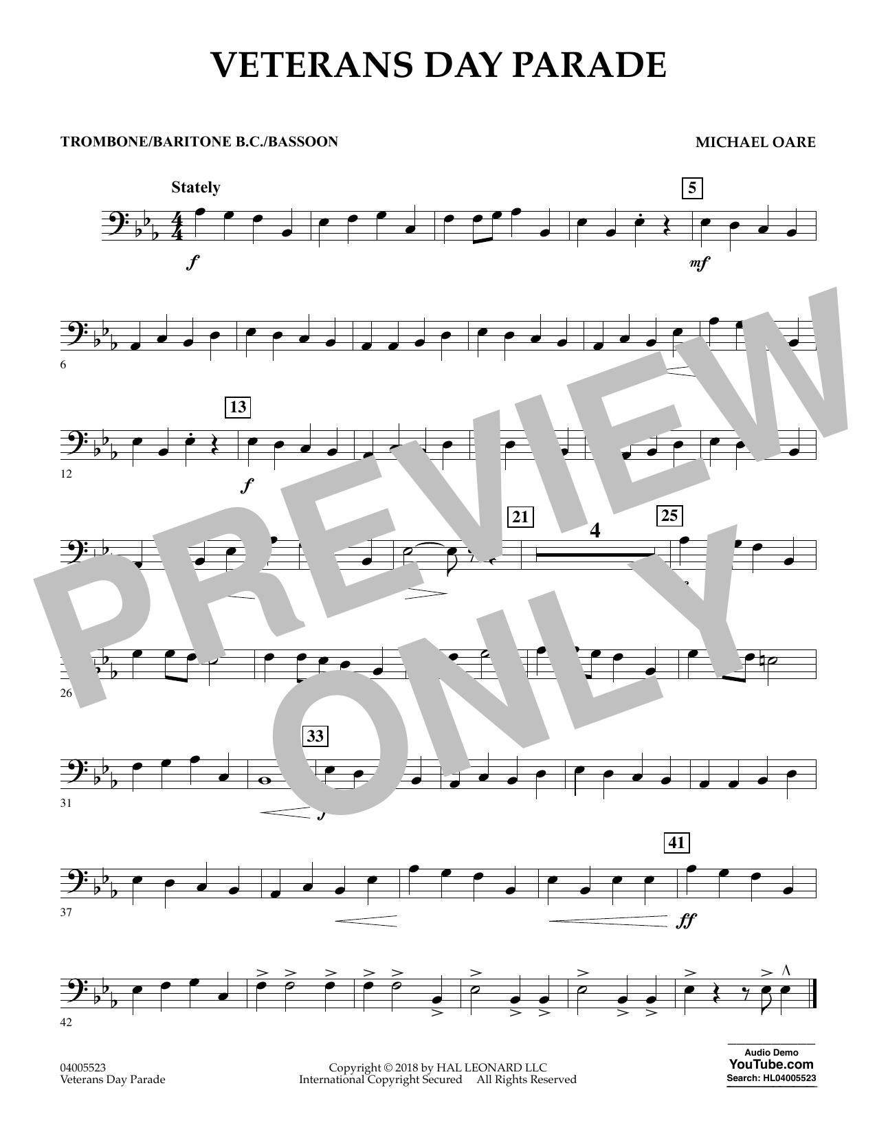 Veterans Day Parade - Trombone/Baritone B.C./Bassoon (Concert Band)