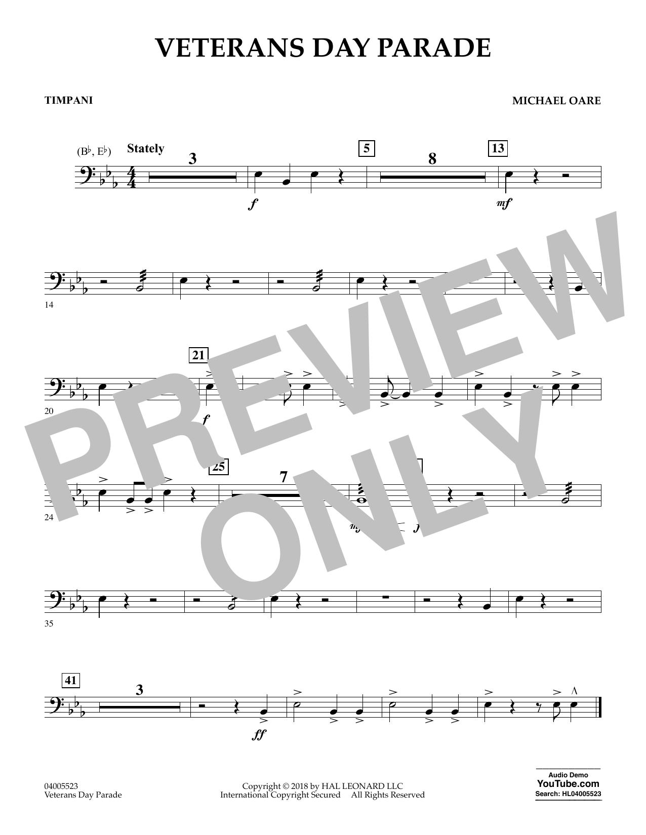 Veterans Day Parade - Timpani (Concert Band)
