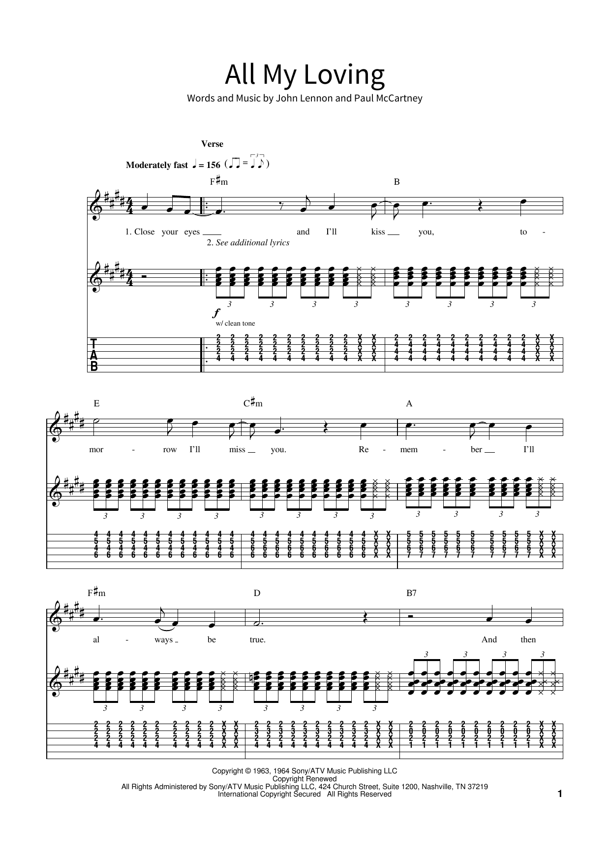 All My Loving (School of Rock – Guitar Tab)