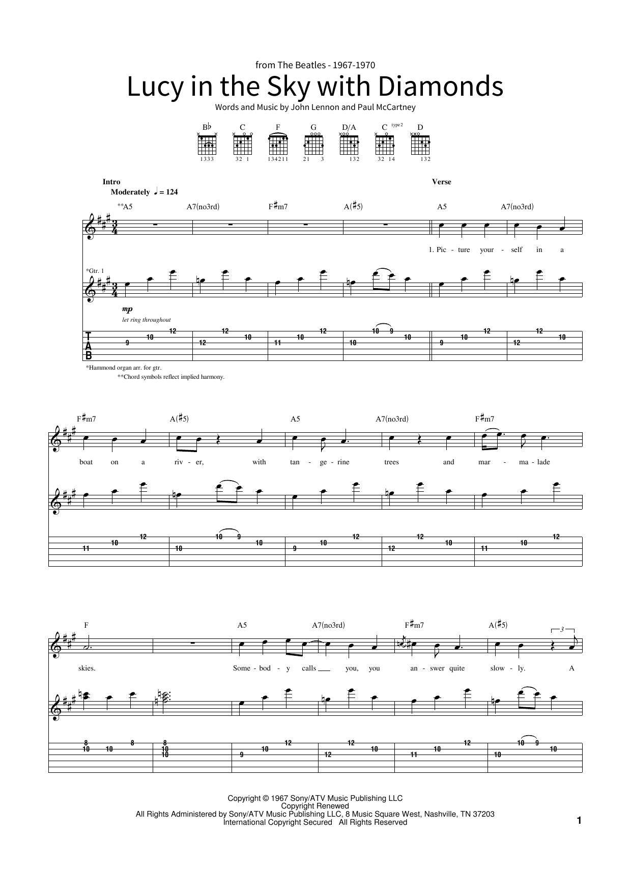 Lucy In The Sky With Diamonds Noten   The Beatles   School of Rock –  Gitarren Tabulatur