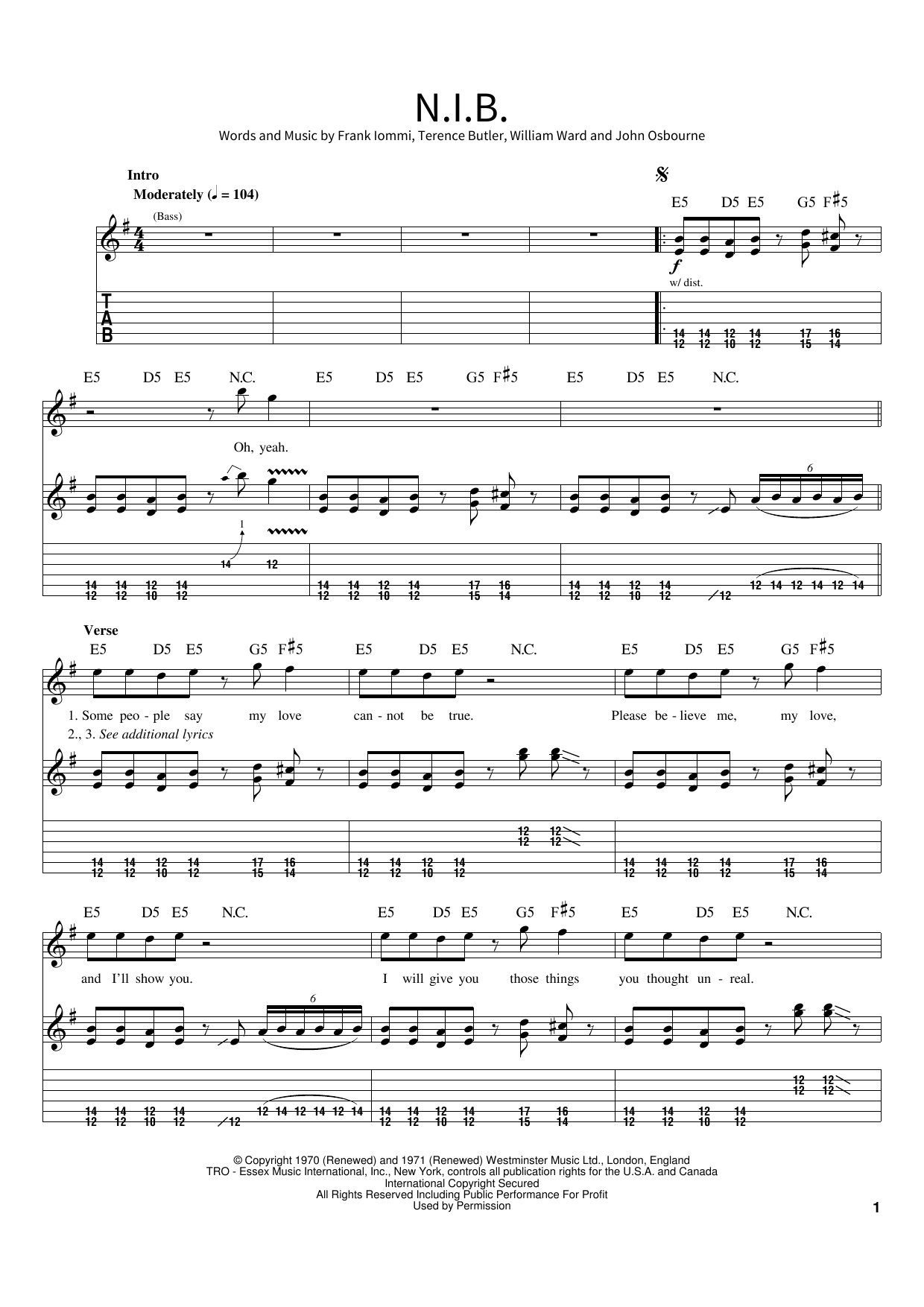 N.I.B. Sheet Music