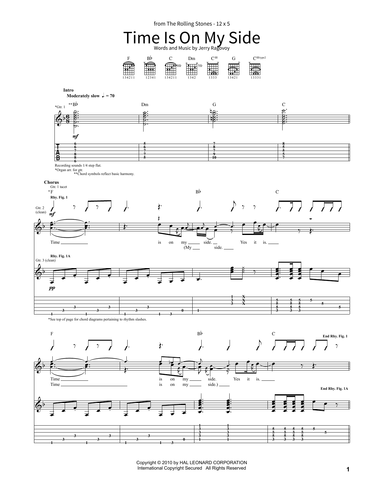 Time Is On My Side Sheet Music