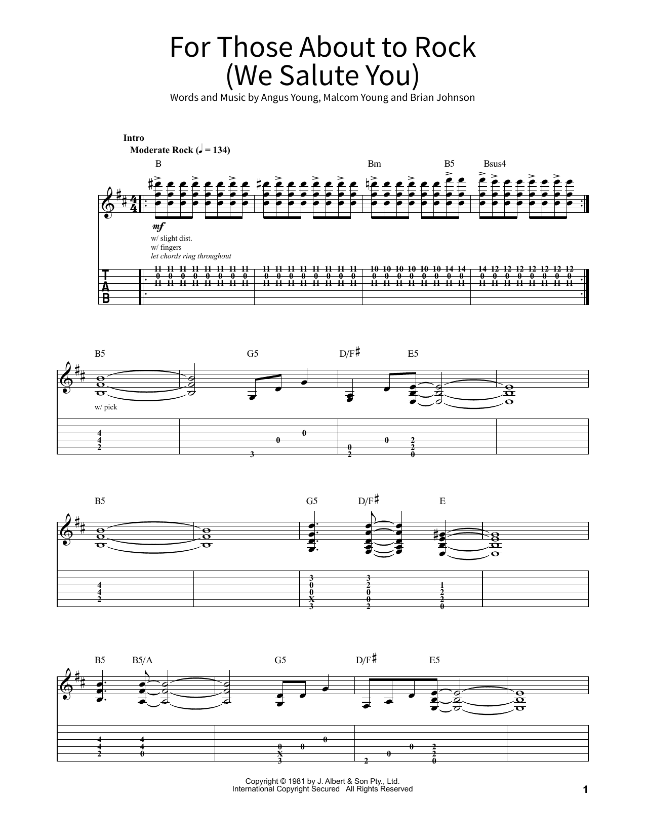 For Those About To Rock (We Salute You) Sheet Music