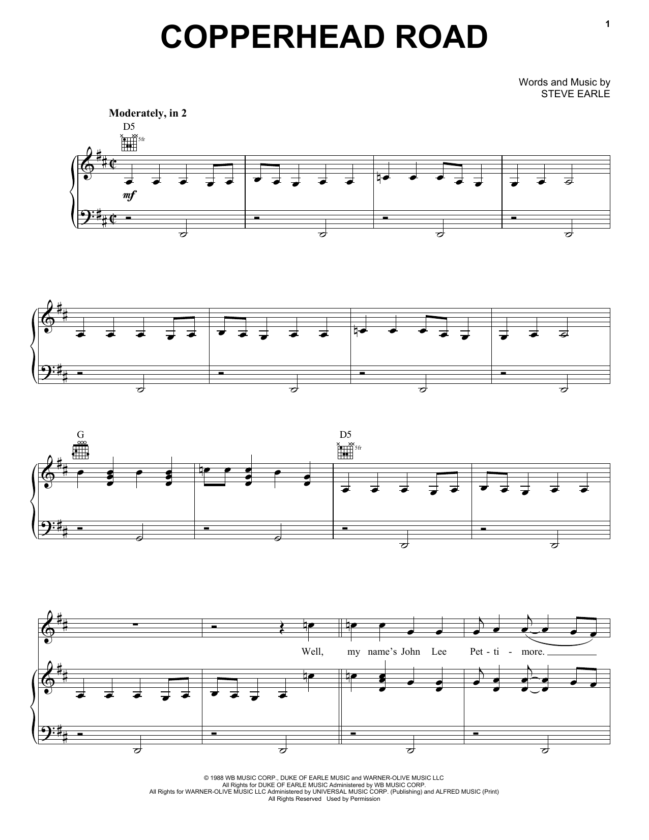 Copperhead Road Sheet Music   Steve Earle   Piano, Vocal & Guitar  Right Hand Melody