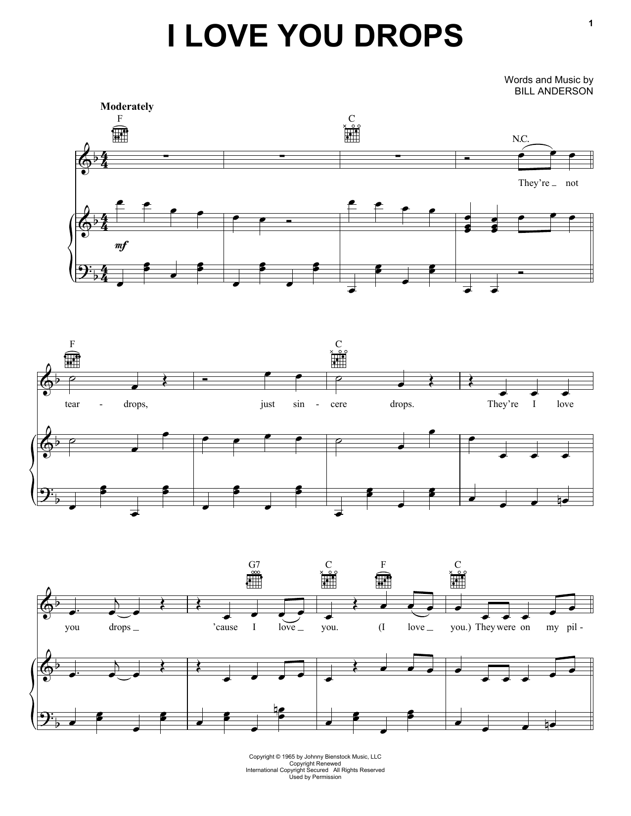 I Love You Drops (Piano, Vocal & Guitar (Right-Hand Melody))