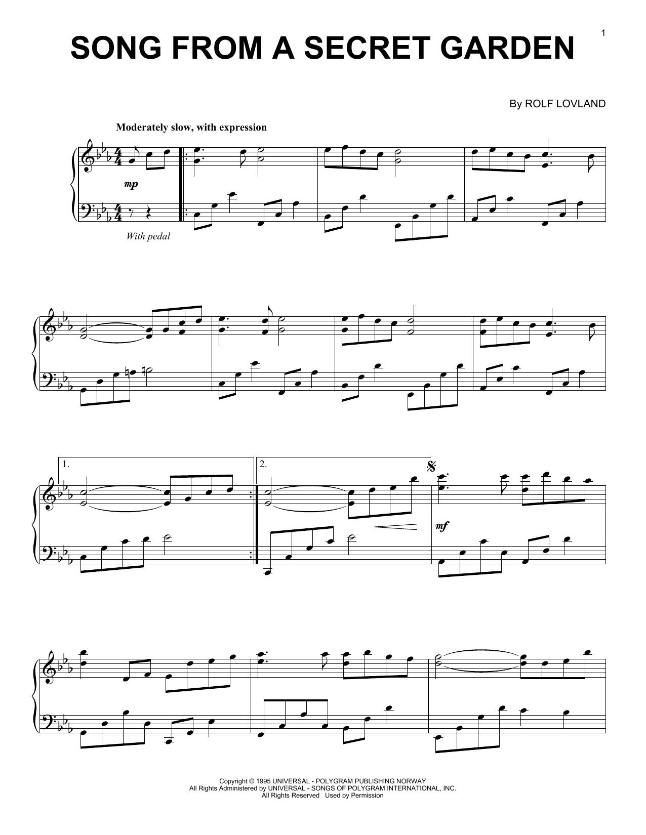 Song From A Secret Garden (Piano Solo)