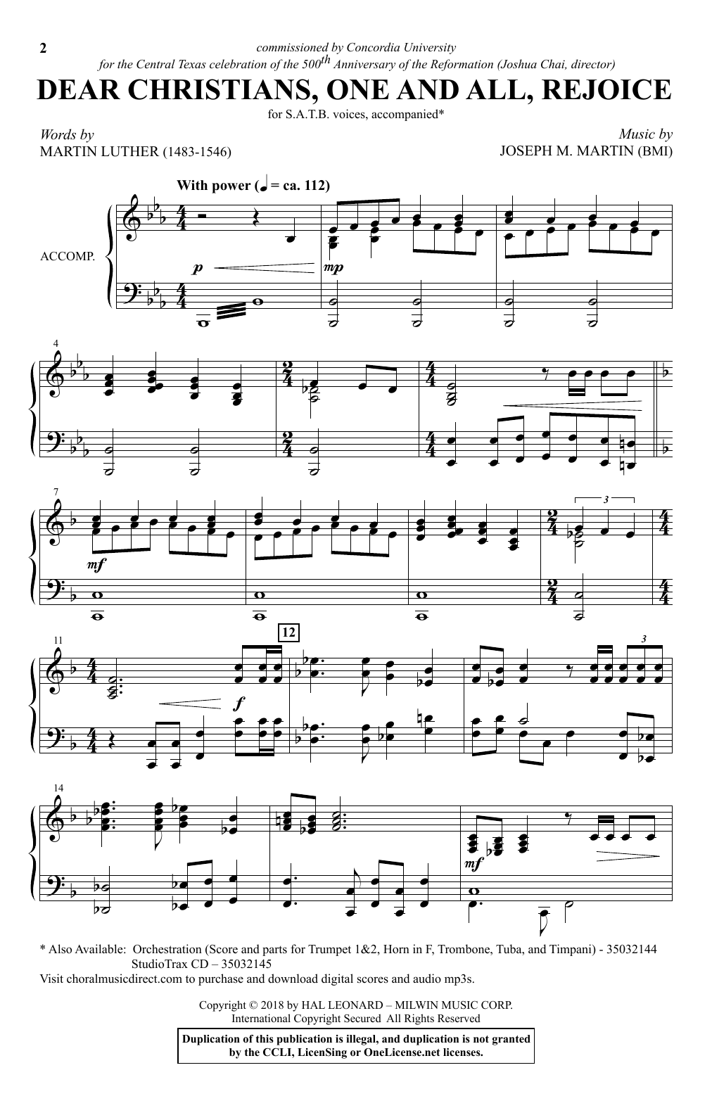 Dear Christians One And All, Rejoice Sheet Music