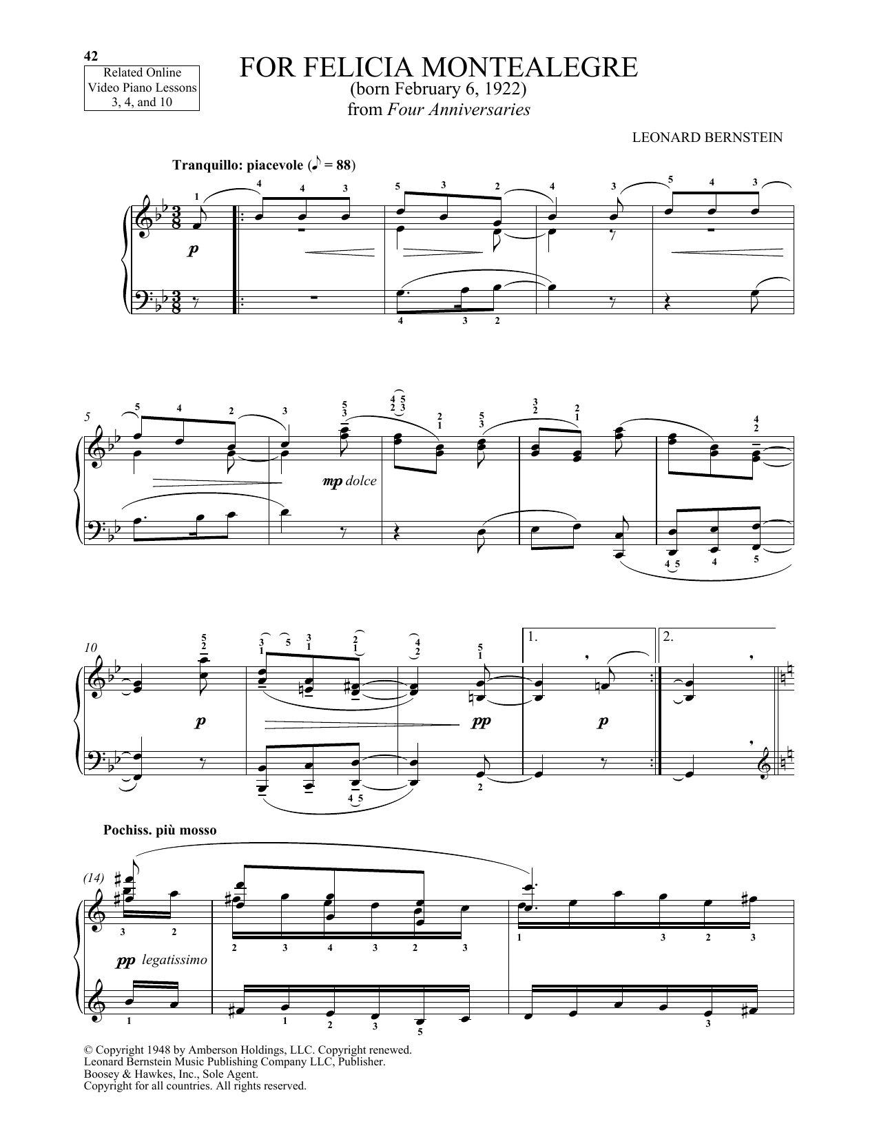For Felicia Montealegre (Piano Solo)