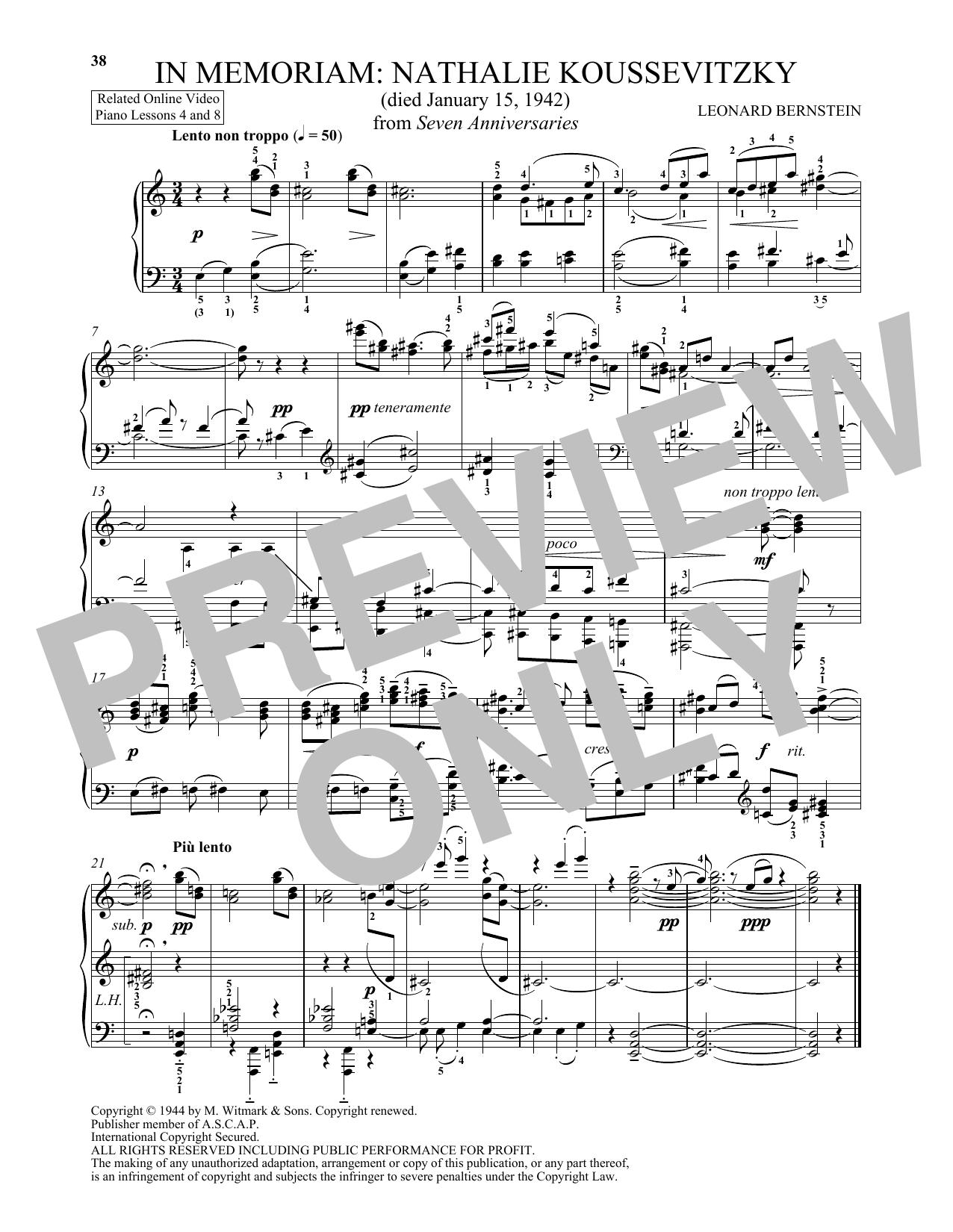 In Memoriam: Nathalie Koussevitzky (Piano Solo)
