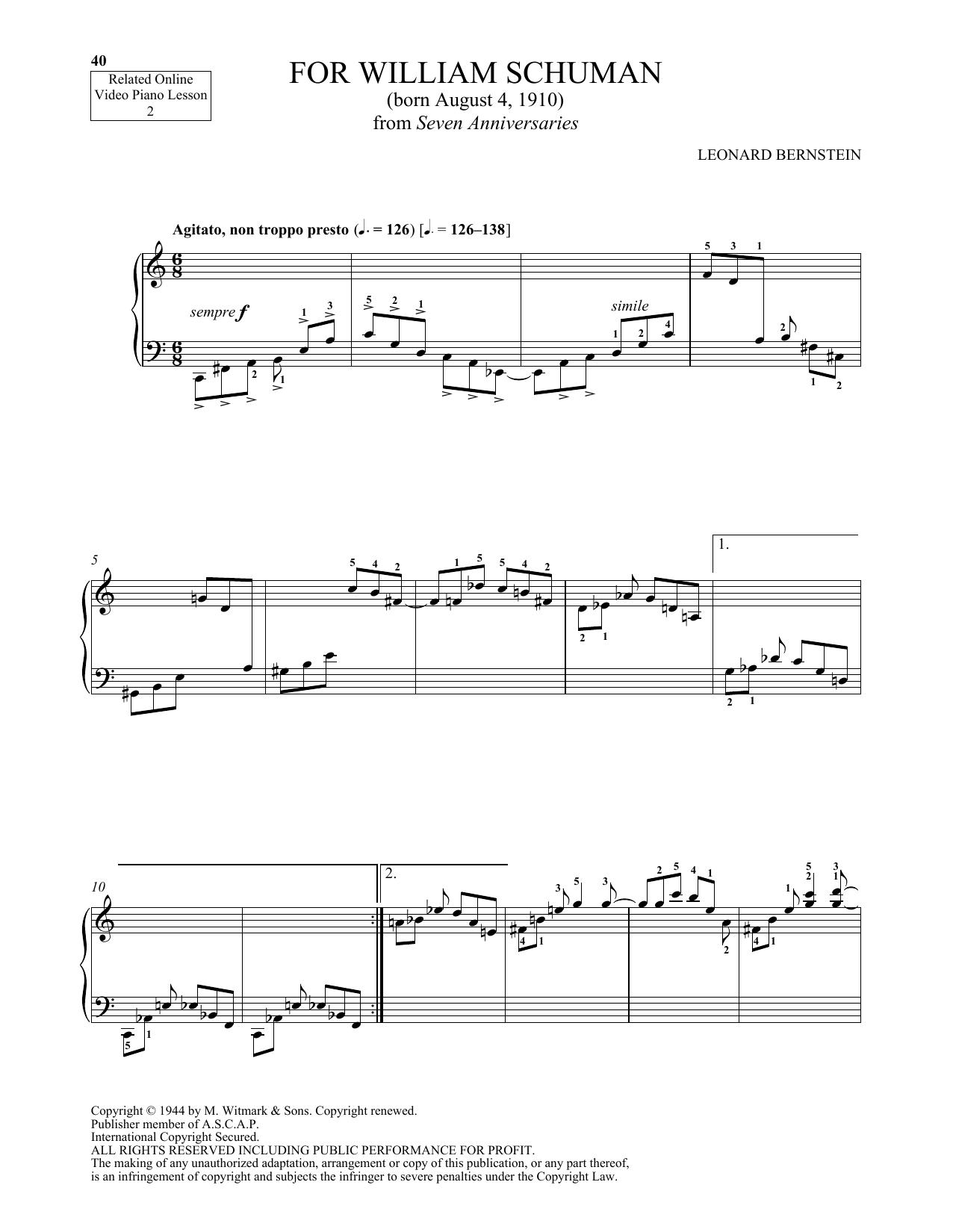 For William Schuman (Piano Solo)