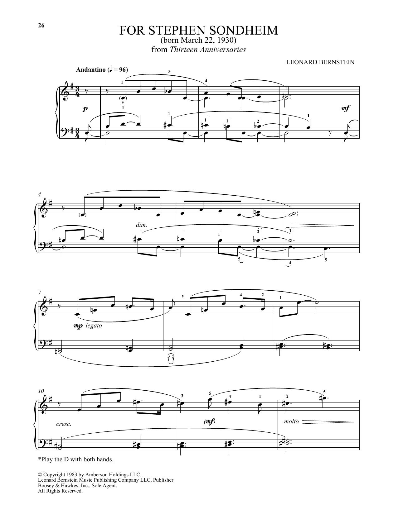 For Stephen Sondheim (Piano Solo)