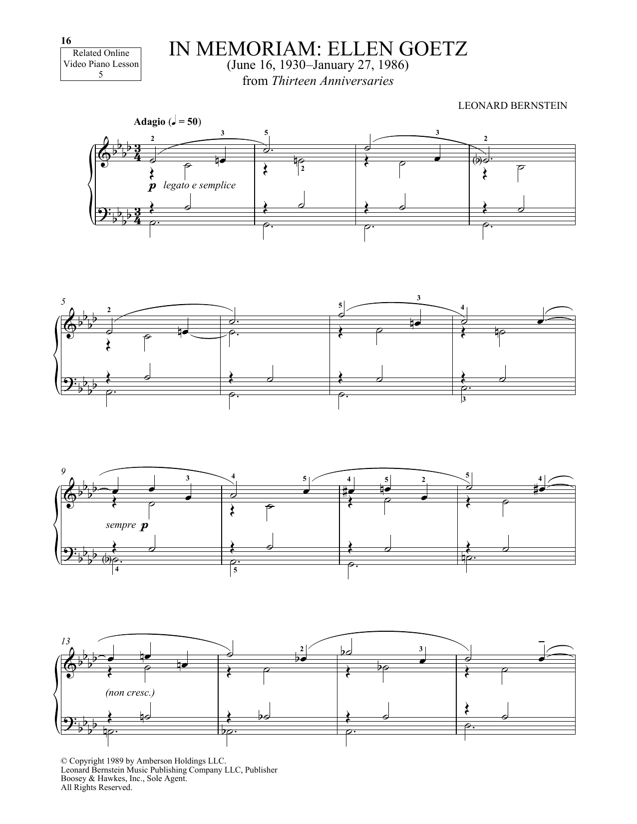 In Memoriam: Ellen Goetz (Piano Solo)