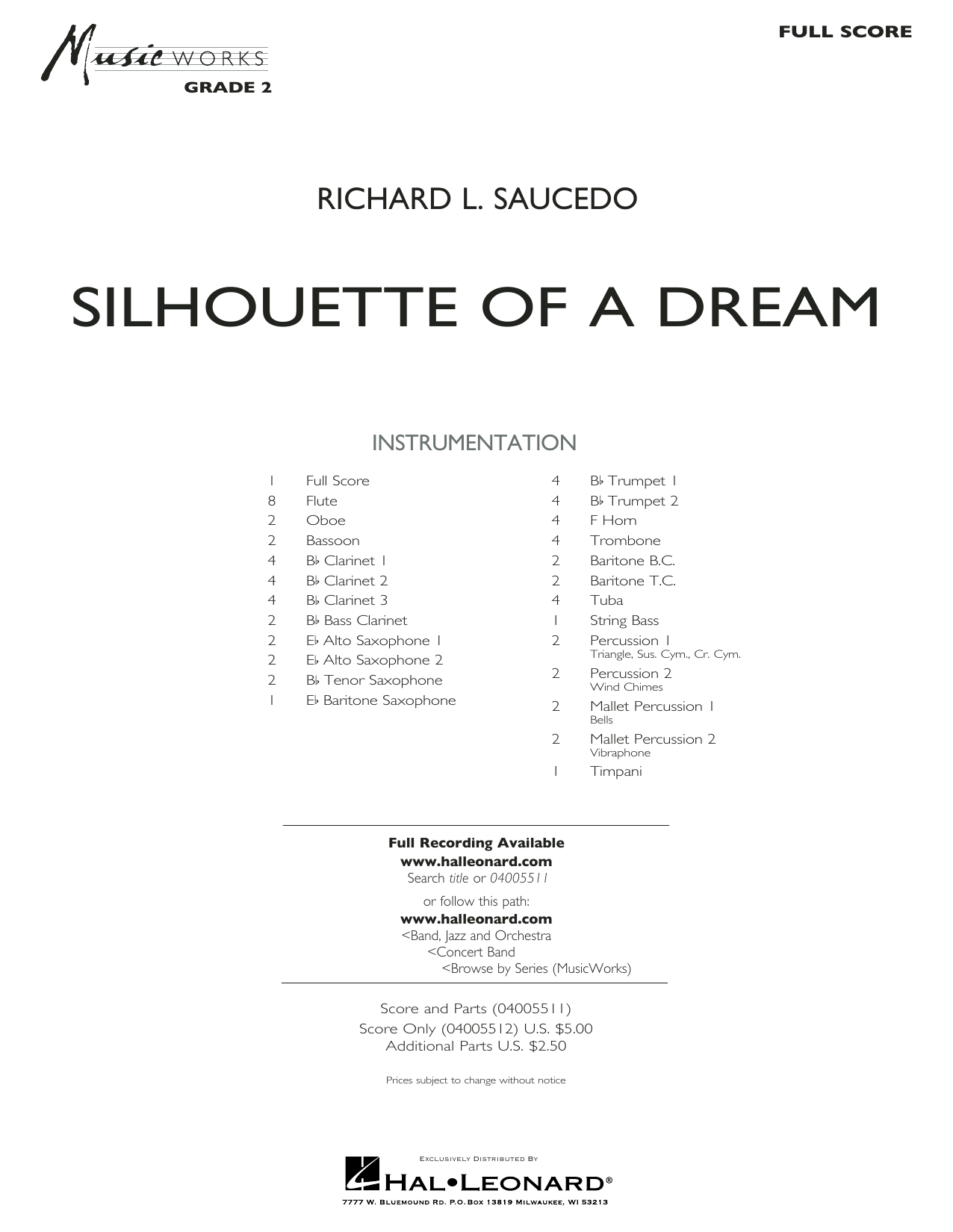 Silhouette of a Dream - Full Score (Concert Band)