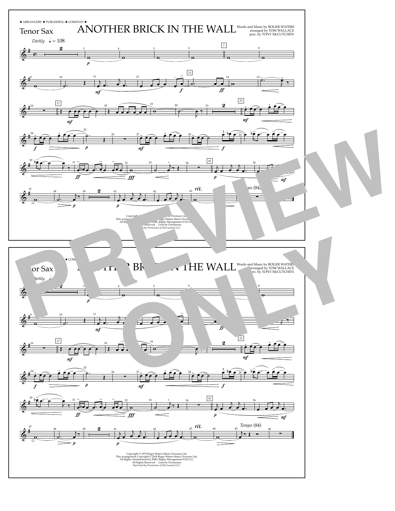 Another Brick in the Wall - Tenor Sax Partition Digitale