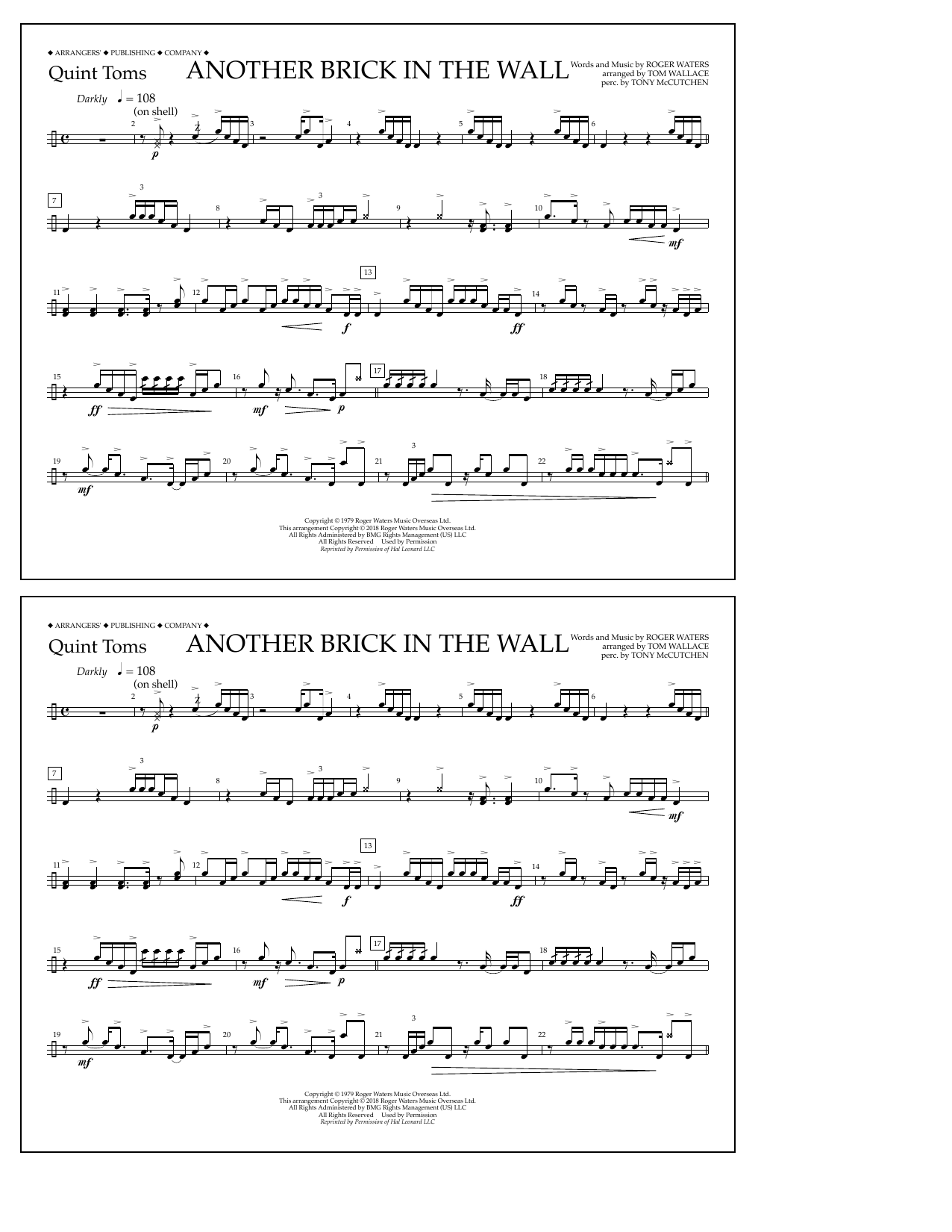 Another Brick in the Wall - Quint-Toms by Tom Wallace Marching Band Digital  Sheet Music
