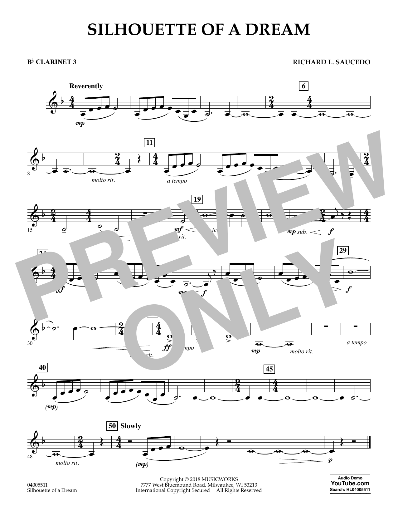Silhouette of a Dream - Bb Clarinet 3 (Concert Band)
