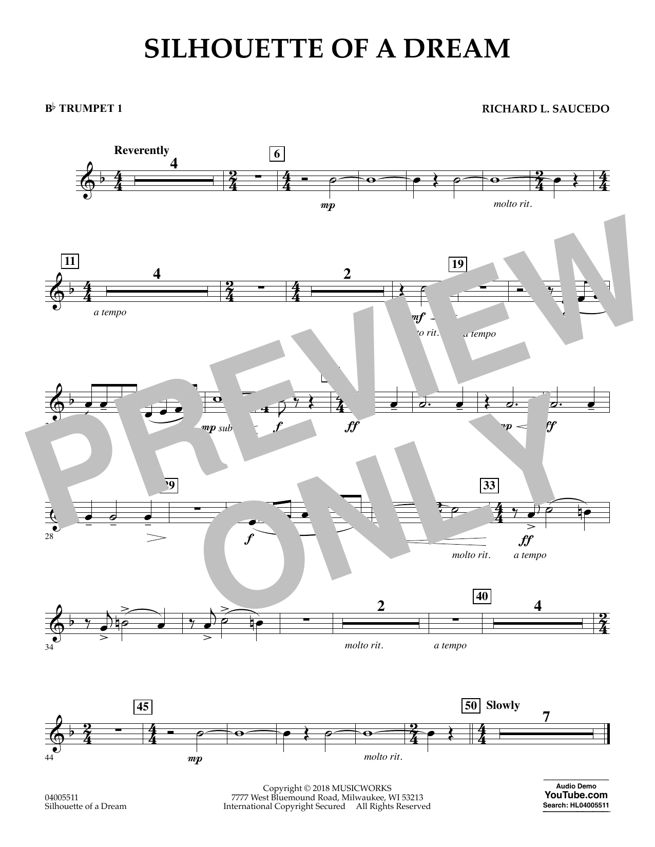 Silhouette of a Dream - Bb Trumpet 1 (Concert Band)