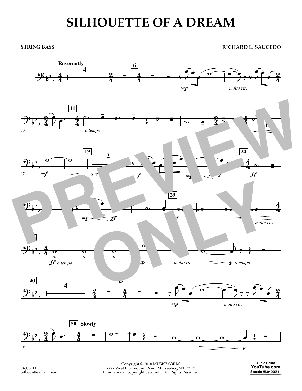 Silhouette of a Dream - String Bass (Concert Band)
