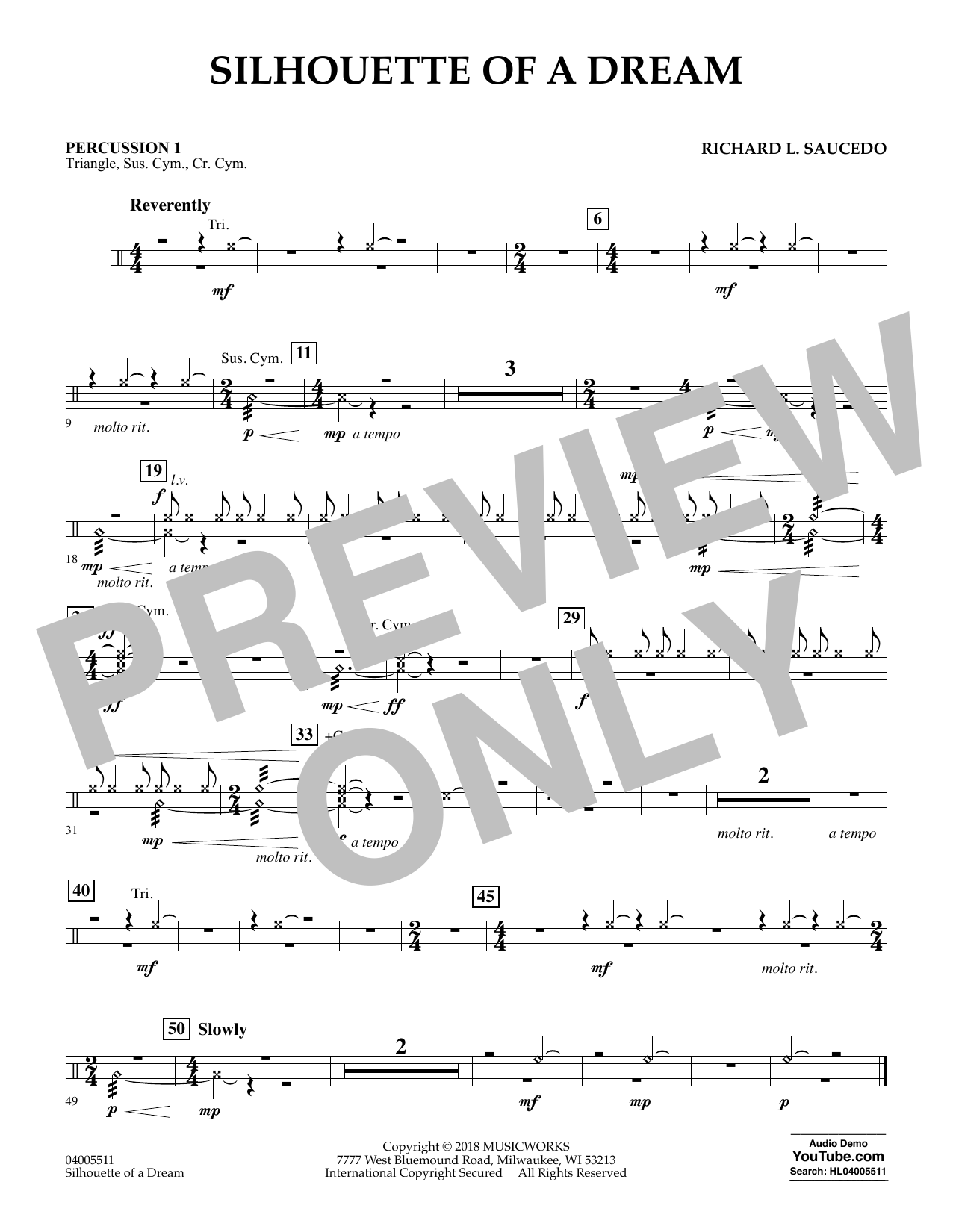 Silhouette of a Dream - Percussion 1 (Concert Band)
