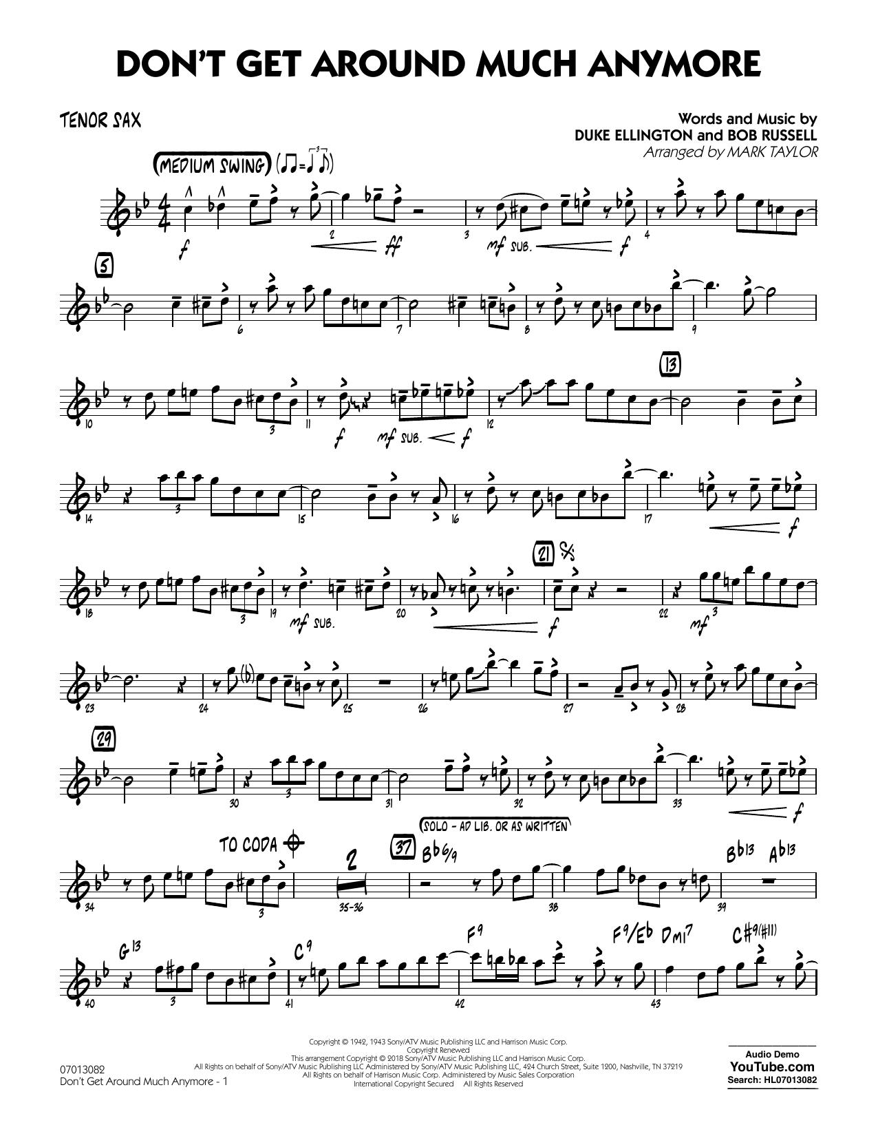 Don't Get Around Much Anymore - Tenor Sax (Jazz Ensemble)