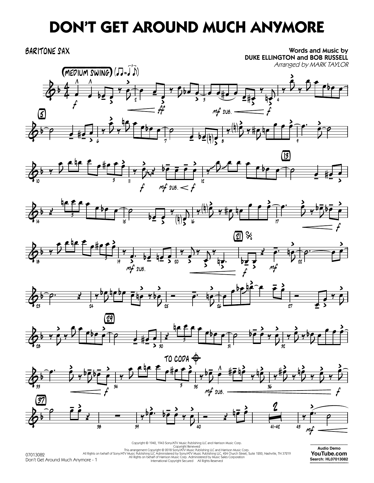 Don't Get Around Much Anymore - Baritone Sax (Jazz Ensemble)