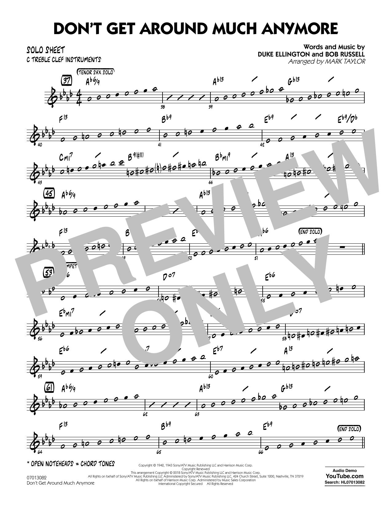 Don't Get Around Much Anymore - C Solo Sheet (Jazz Ensemble)