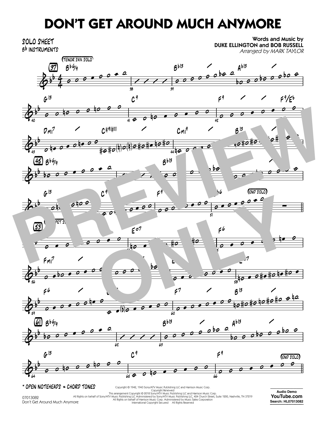 Don't Get Around Much Anymore - Bb Solo Sheet (Jazz Ensemble)