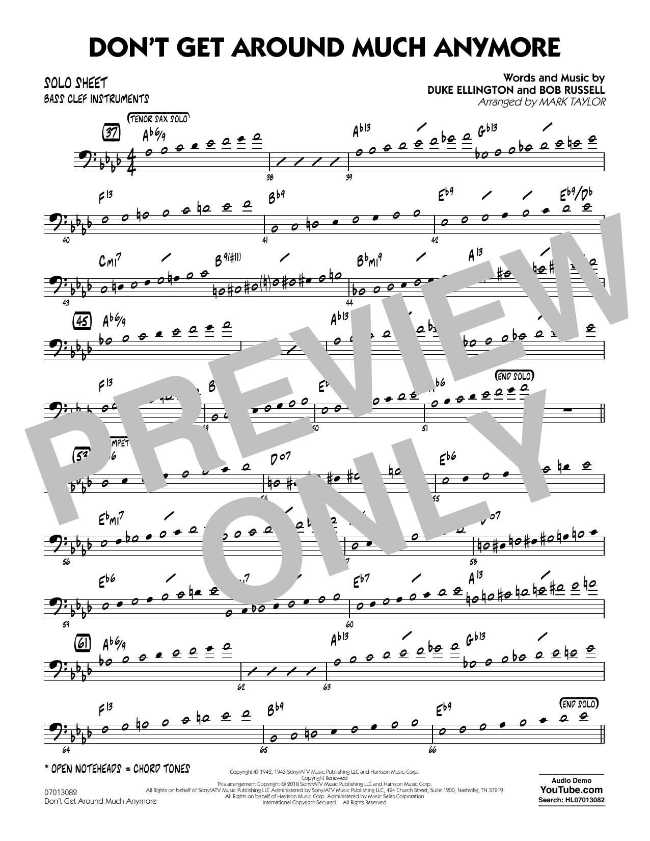 Don't Get Around Much Anymore - Bass Clef Solo Sheet (Jazz Ensemble)