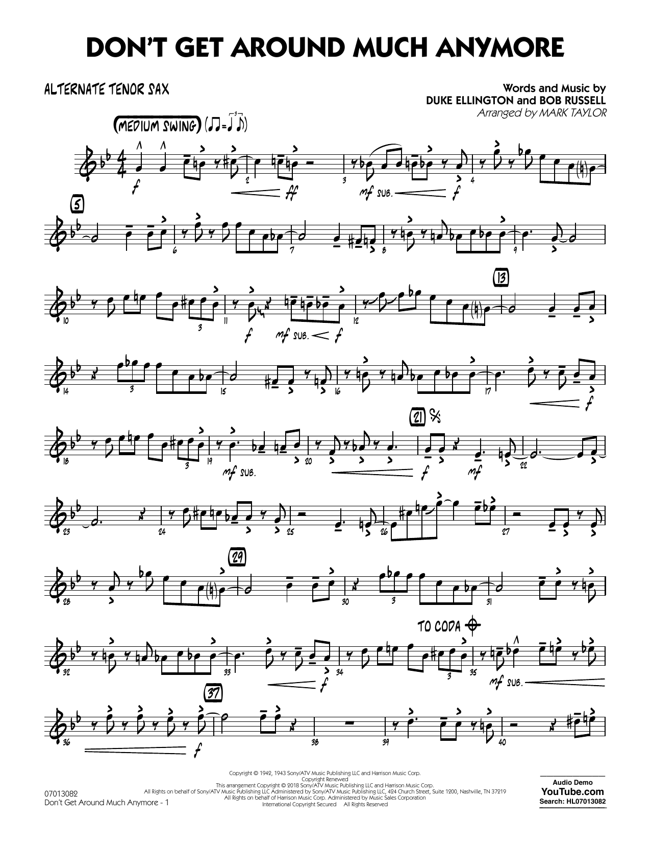Don't Get Around Much Anymore - Alternate Tenor Sax (Jazz Ensemble)
