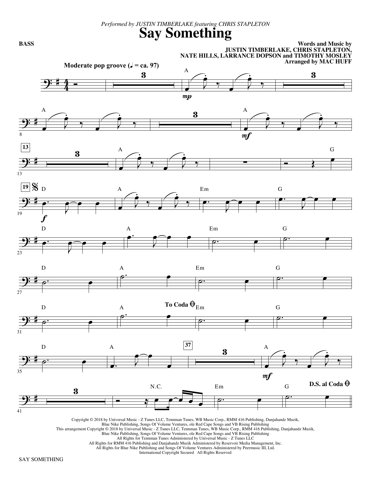 Say Something (feat. Chris Stapleton) (arr. Mac Huff) - Bass (Choir Instrumental Pak)