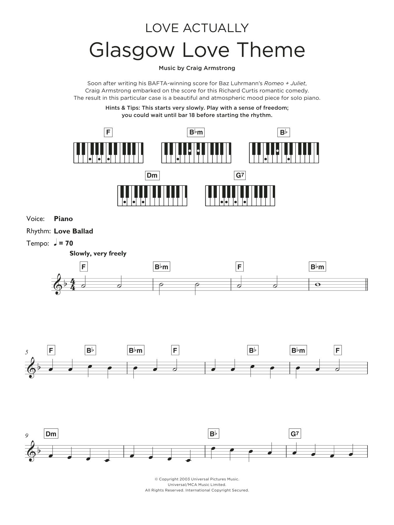 Glasgow Love Theme Sheet Music