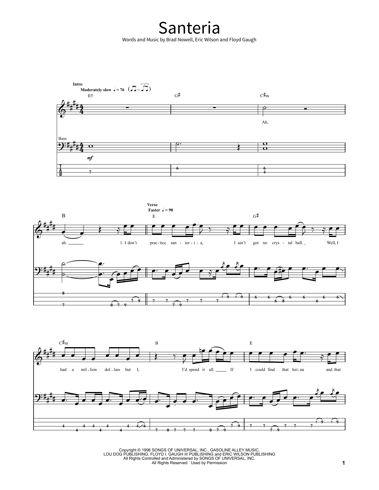 Santeria Sheet Music Sublime School Of Rock Bass Guitar