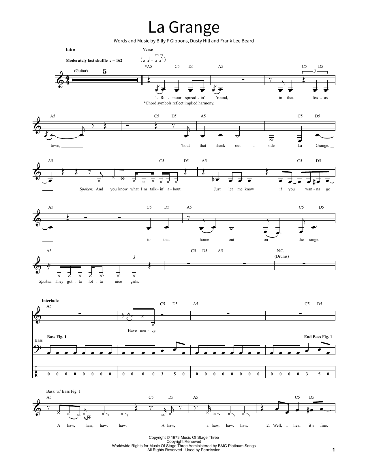 La Grange Noten   ZZ Top   School of Rock – BassGitarre