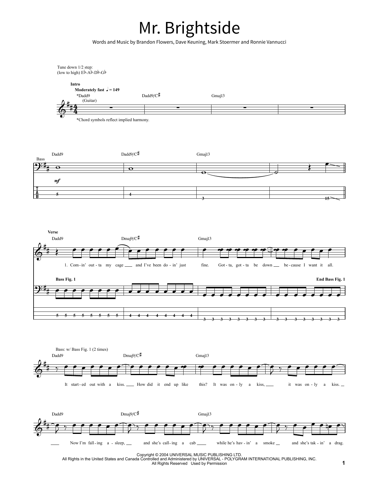 Mr Brightside Sheet Music By The Killers School Of Rock Bass